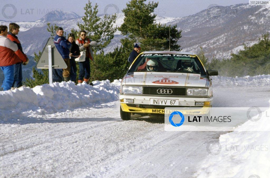 1987 World Rally Championship.Monte Carlo Rally, Monaco. 17-22 January 1987.Walter Rohrl/Christian Geistdorfer (Audi 200 Quattro), 3rd position.World Copyright: LAT PhotographicRef: 35mm transparency 87RALLY11
