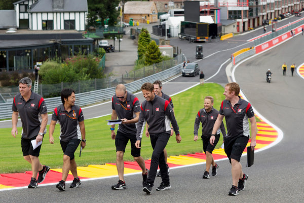 Spa Francorchamps, Belgium.  Thursday 24 August 2017. Romain Grosjean, Haas F1, walks the track with colleagues. World Copyright: Al Staley/LAT Images  ref: Digital Image _X0W0247