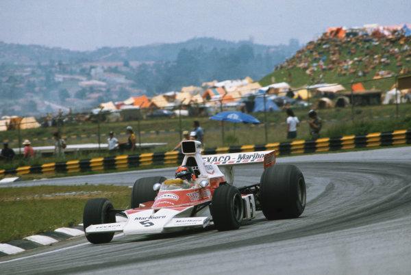 1974 Brazilian Grand Prix  Interlagos, Sao Paulo, Brazil. 25-27th January 1974.  Emerson Fittipaldi, McLaren M23 Ford, 1st position.  Ref: 74BRA06. World Copyright: LAT Photographic