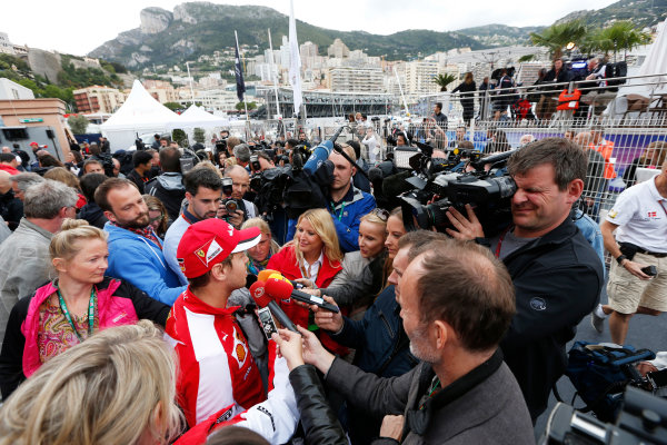 Monte Carlo, Monaco. Thursday 21 May 2015. Sebastian Vettel, Ferrari, talks to the media. World Copyright: Alastair Staley/LAT Photographic. ref: Digital Image _79P0314