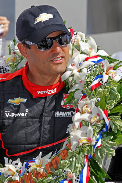 24 May, 2015, Indianapolis, Indiana, USA Juan Pablo Montoya after winning the 99th Indianapolis 500 ?2015, Ernie Masche LAT Photo USA