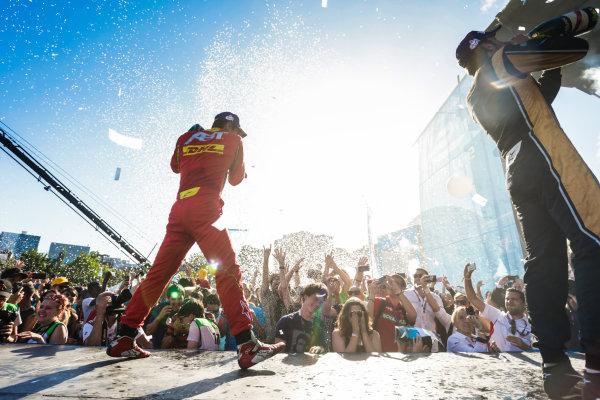2016/2017 FIA Formula E Championship. Round 11 - Montreal ePrix, Canada Saturday 29 July 2017. Lucas Di Grassi (BRA), ABT Schaeffler Audi Sport, Spark-Abt Sportsline, ABT Schaeffler FE02, celebrates on the podium. Photo: Andrew Ferraro/LAT/Formula E ref: Digital Image _FER4511
