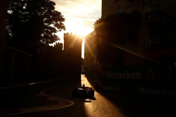 Baku City Circuit, Baku, Azerbaijan. Friday 23 June 2017. Sebastian Vettel, Ferrari SF70H, at sunset. World Copyright: Andy Hone/LAT Images ref: Digital Image _ONZ6445