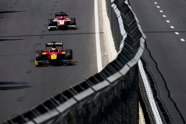 2017 FIA Formula 2 Round 4. Baku City Circuit, Baku, Azerbaijan. Friday 23 June 2017. Louis Deletraz (SUI, Racing Engineering), Ralph Boschung (SUI, Campos Racing)  Photo: Zak Mauger/FIA Formula 2. ref: Digital Image _54I9620