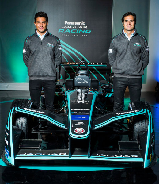 Panasonic Jaguar Racing RE:CHARGE LIVE EVENT Whitely Engineering Centre, Warwickshire, UK Thursday 21 September 2017. Mitch Evans and Nelson Piquet Jr Photo: Andrew Ferraro/LAT/Jaguar ref: Digital Image _FER7257