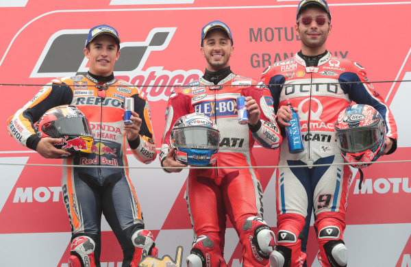 2017 MotoGP Championship - Round 15 Motegi, Japan. Sunday 15 October 2017 Podium: race winner Andrea Dovizioso, Ducati Team, second place Marc Marquez, Repsol Honda Team, third place Danilo Petrucci, Pramac Racing World Copyright: Gold and Goose / LAT Images ref: Digital Image 21988