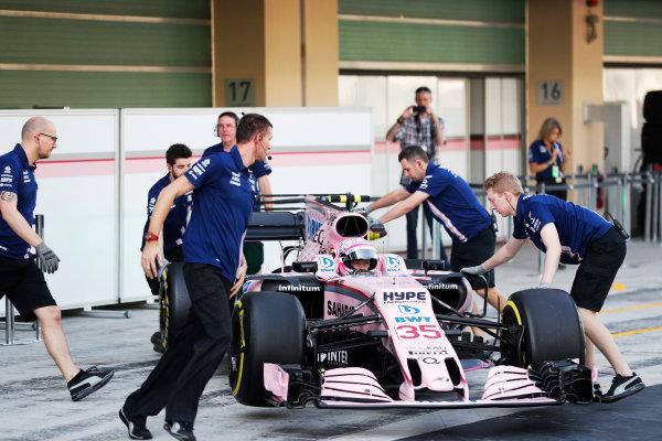 Yas Marina Circuit, Abu Dhabi, United Arab Emirates. Tuesday 28 November 2017. Nikita Mazepin, Force India VJM10 Mercedes, returns to the pits. World Copyright: Zak Mauger/LAT Images  ref: Digital Image _O3I9035