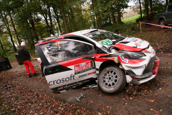 2017 FIA World Rally Championship, Round 12, Wales Rally GB, 26-29 October, 2017, Juho Hanninen, Toyota, accident, Worldwide Copyright: LAT/McKlein