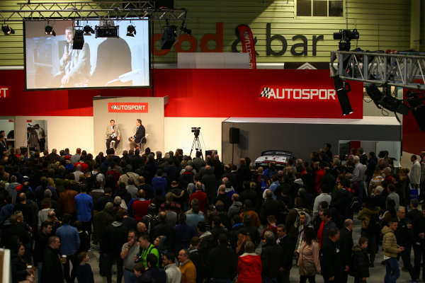 Autosport International Exhibition. National Exhibition Centre, Birmingham, UK. Sunday 14th January 2018. A scenic view of the show, with Nigel Mansell on the Autosport Stage. World Copyright: Mike Hoyer/JEP/LAT Images Ref: MDH10168