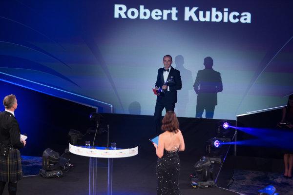 2017 Autosport Awards Grosvenor House Hotel, Park Lane, London. Sunday 3 December 2017. Robert Kubica on stage with Presenters David Coulthard, and Lee McKenzie. World Copyright: Joe Portlock/LAT Images  ref: Digital Image _L5R8618