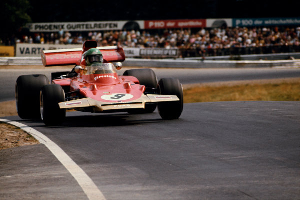 Nurburgring, Germany. 30th July - 1st August 1971.Reine Wisell (Lotus 72D-Ford), 8th position, action. World Copyright: LAT Photographic.Ref:  Colour Transparency.