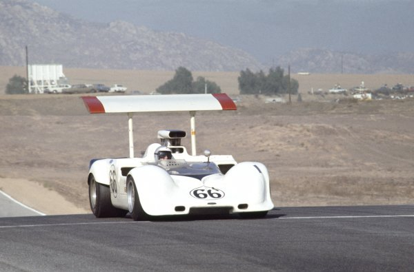 1968 Can-Am Challenge Cup.CanAm race. Riverside, California, United States (USA). 27 October 1968.Jim Hall (Chaparral 2G-Chevrolet), 3rd position.World Copyright: LAT PhotographicRef: 35mm transparency 68CANAM03