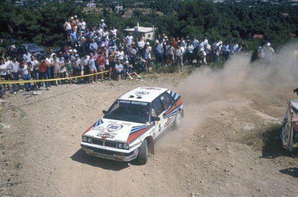 1988 World Rally Championship.Acropolis Rally, Greece. 29 May-1 June 1988.Miki Biasion/Tiziano Siviero (Lancia Delta Integrale), 1st position.World Copyright: LAT PhotographicRef: 35mm transparency 88RALLY06