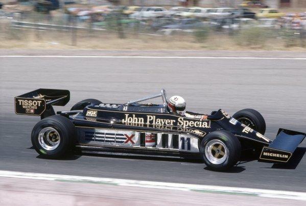1981 Spanish Grand Prix.Jarama, Spain. 19-21 June 1981.Elio de Angelis (Lotus 87-Ford Cosworth), 5th position.World Copyright: LAT PhotographicRef: 35mm transparency 81ESP06