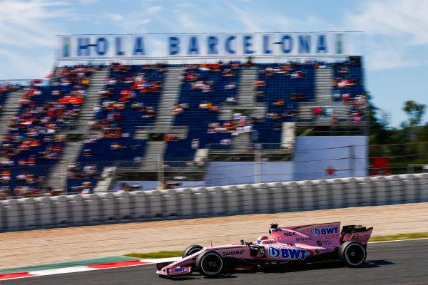 Circuit de Catalunya, Barcelona, Spain. Saturday 13 May 2017. Sergio Perez, Force India VJM10 Mercedes. World Copyright: Andy Hone/LAT Images ref: Digital Image _ONZ4871
