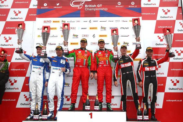 2017 British GT Championship, Oulton Park, 15th-17th April, 2017, Race 1 - GT3 Podium, Jon Minshaw / Phil Keen - Barwell Motorsport Lamborghini Hurracan GT3 World copyright. JEP/LAT Images