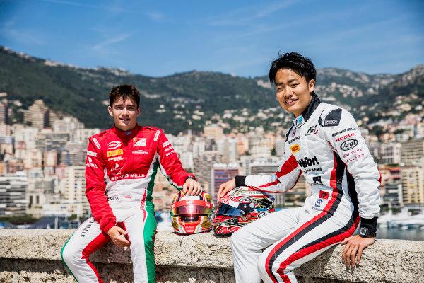 2017 FIA Formula 2 Round 3. Monte Carlo, Monaco. Wednesday 24 May 2017. Charles Leclerc (MCO, PREMA Racing), Nobuharu Matsushita (JPN, ART Grand Prix). Photo: Zak Mauger/FIA Formula 2. ref: Digital Image _54I4728