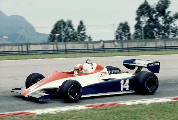 1981 Brazilian Grand Prix.Jacarepagua, Rio de Janeiro, Brazil.27-29 March 1981.Marc Surer (Ensign N180B Ford) 4th position.Ref-81 BRA 22.World Copyright - LAT Photographic