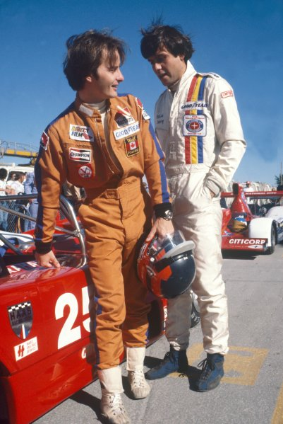 1977 Can-Am Challenge Cup. Trois-Rivieres, Quebec, Canada. 4th September 1977. Gilles Villeneuve and Patrick Tambay chat before making their debuts in the Can-Am race. Tambay came 1st whilst Villeneuve retired, portrait. World Copyright: LAT Photographic. ref: colour transparency.