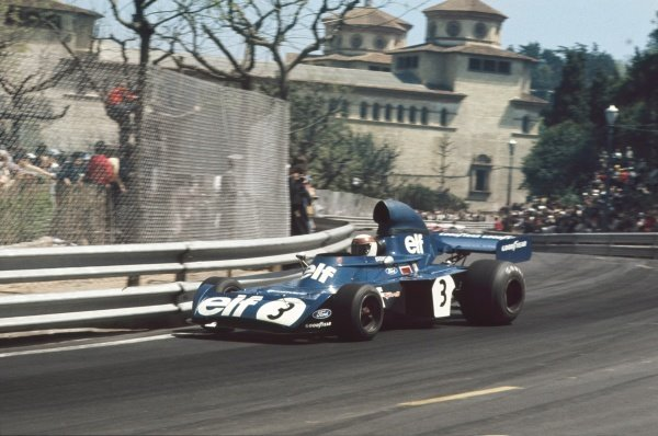 1973 Spanish Grand Prix. Montjuich Park, Barcelona, Spain. 29 April 1973. Jackie Stewart (Tyrrell 006-Ford), retired, action. World Copyright: LAT Photographic ref: 35mm Transparency Image