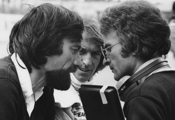 1977 South African Grand Prix. Kyalami, South Africa. 3 - 5 March 1977. J.F.Robin, Jacques Laffite and Gerard Ducarouge in conversation, portrait.  World Copyright: LAT Photographic.  Ref:  B/W Print.