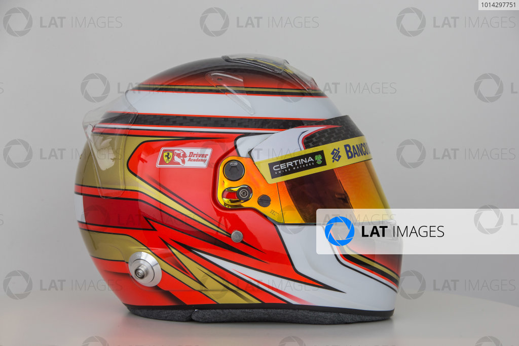Hinwil, Switzerland. Thursday 29 January 2015. Helmet of Raffaele Marciello, Test and Reserve Driver, Sauber.  World Copyright: Sauber F1 Team (Copyright Free FOR EDITORIAL USE ONLY) ref: Digital Image 2015_SAUBER_HELMET_14