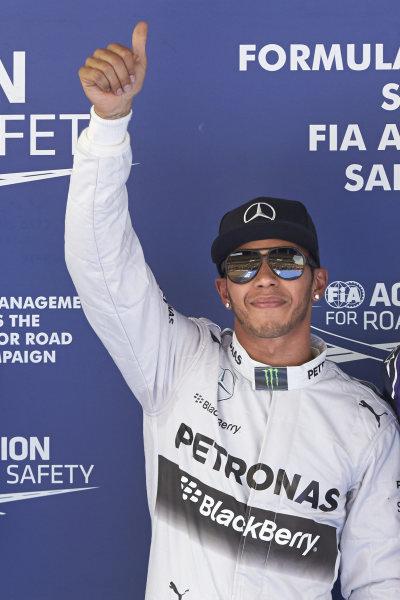 Circuit de Catalunya, Barcelona, Spain. Saturday 10 May 2014. Lewis Hamilton, Mercedes AMG, celebrates pole. World Copyright: Steve EtheringtonLAT Photographic. ref: Digital Image SNE14924 copy