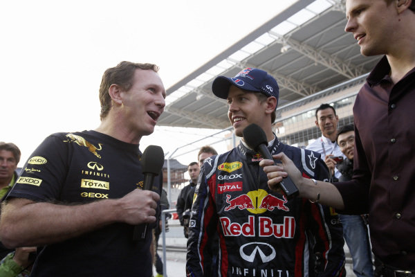 Christian Horner and Sebastian Vettel are interviewed by BBC Sport's Jake Humphrey after the race.