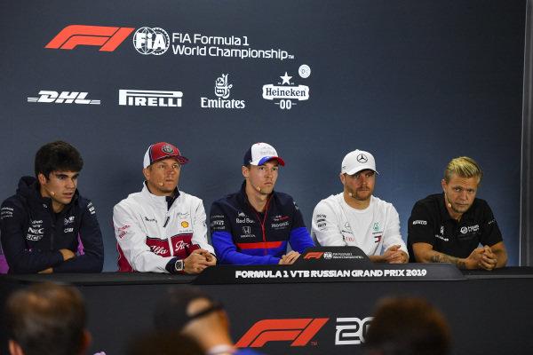 L-R: Lance Stroll, Racing Point, Kimi Raikkonen, Alfa Romeo Racing, Daniil Kvyat, Toro Rosso, Valtteri Bottas, Mercedes AMG F1, and Kevin Magnussen, Haas F1