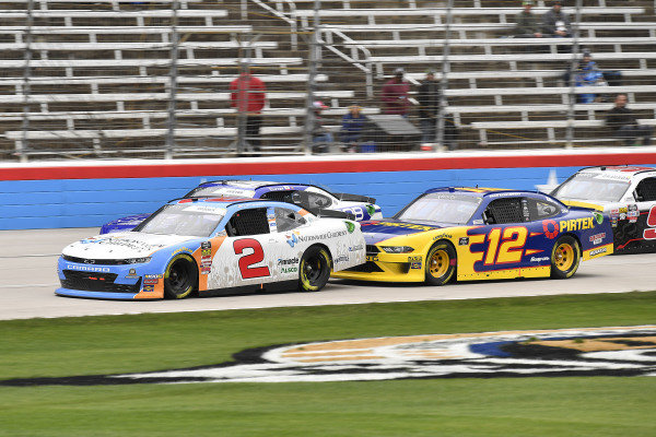 #2: Tyler Reddick, Richard Childress Racing, Chevrolet Camaro Nationwide Children's Hospital and #12: Brad Keselowski, Team Penske, Ford Mustang Pirtek