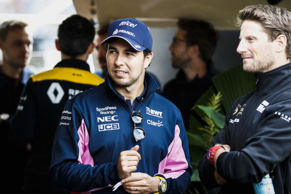 Sergio Perez, Racing Point on the way to the Federation Square event.