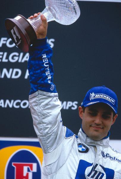 2002 Belgian Grand Prix.Spa-Francorchamps, Belgium. 30/8-1/9 2002.Juan-Pablo Montoya (Williams BMW) 3rd position on the podium.Ref-02 BEL 19.World Copyright - Rose/LAT Photographic