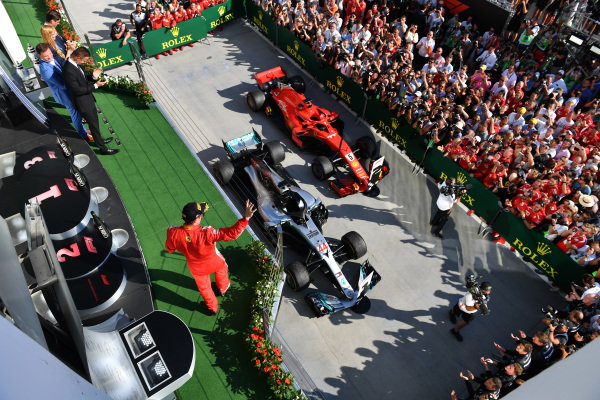 Kimi Raikkonen (FIN) Ferrari celebrates on the podium