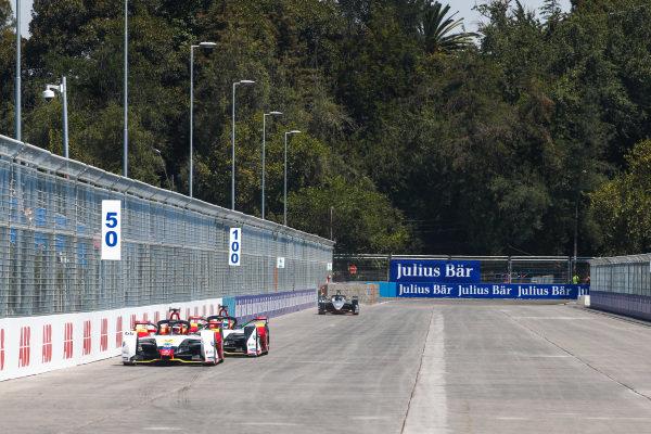 Daniel Abt (DEU), Audi Sport ABT Schaeffler, Audi e-tron FE05 leads Lucas Di Grassi (BRA), Audi Sport ABT Schaeffler, Audi e-tron FE05 and Sébastien Buemi (CHE), Nissan e.Dam, Nissan IMO1