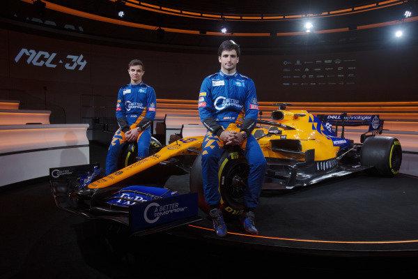 Lando Norris, McLaren and Carlos Sainz Jr, McLaren with the new McLaren MCL34
