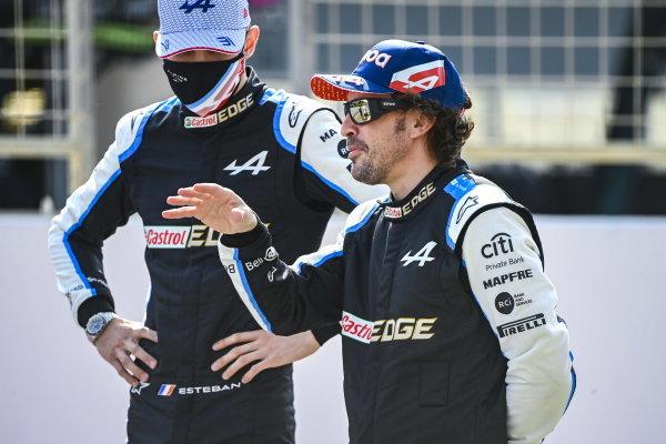 Esteban Ocon, Alpine F1, and Fernando Alonso, Alpine F1