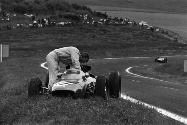John Surtees retires his Ferrari 156/63.