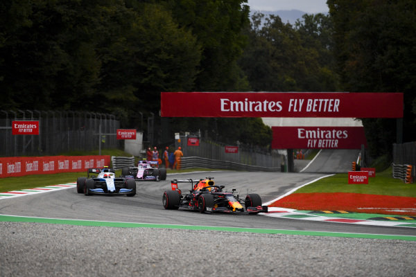 Max Verstappen, Red Bull Racing RB15, leads Robert Kubica, Williams FW42, and Lance Stroll, Racing Point RP19