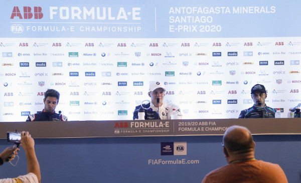 Antonio Felix da Costa (PRT), DS Techeetah, Maximilian Günther (DEU), BMW I Andretti Motorsports and Mitch Evans (NZL), Panasonic Jaguar Racing in the post race press conference