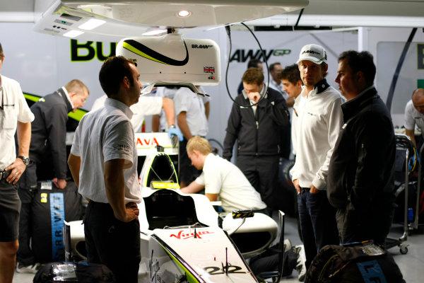 Interlagos, Sao Paulo, Brazil.17th October 2009.Jenson Button, Brawn GP BGP001 Mercedes, in the Brawn GP garage. Portrait. World Copyright: Charles Coates/LAT Photographicref: Digital Image _26Y2506
