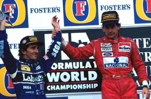 Race winner Ayrton Senna (BRA) McLaren (right) acknowledges second place finisher and World Champion Alain Prost (FRA) Williams (left) in his final race before retirement. Australian Grand Prix, Adelaide, 7 November 1993