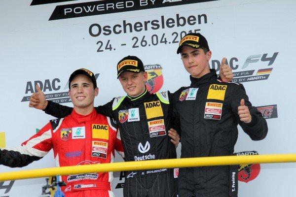 Mick Schumacher (GER) Van Amersfoort Racing celebrates victory in race two at German Formula Four Championship, Rd1, Oschersleben, Germany, 24-26 April 2015.