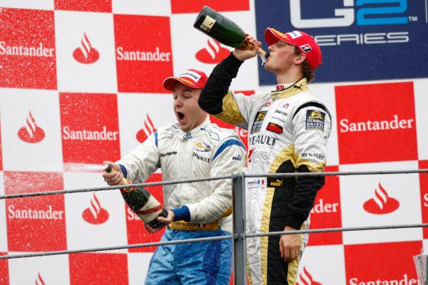 Autodromo di Monza, Monza, Italy 14th September.Sunday Race.  Davide Valsecchi (ITA, Durango) celebrates victory on the podium with Romain Grosjean (FRA, ART Grand Prix). World Copyright: Andrew Ferraro/GP2 Series Media Service. ref: Digital Image _H0Y1995