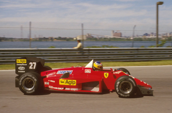 Montreal, Quebec, Canada.14-16 June 1985.Michele Alboreto (Ferrari 156/85) 1st position.Ref-85 CAN 10.World Copyright - LAT Photographic