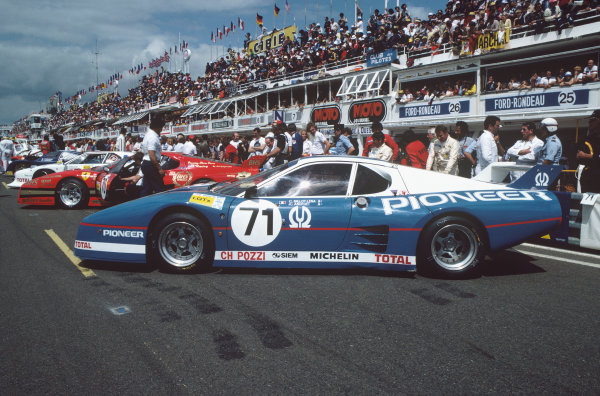 1982 Le Mans 24 hours. Le Mans, France. 19th - 20th June 1982. Claude Ballot-Lena / Jean-Claude Andruet / Herve Regout  (Ferrari 512 BB), retired, before the start of the race, action. World Copyright: LAT Photographic. Ref: 82LM37.