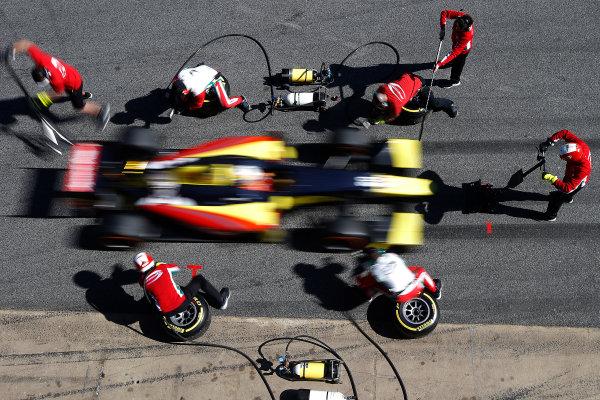 2016 GP2 Series Test 1. Circuit de Catalunya, Barcelona, Spain. Friday 11 March 2016. Antonio Giovinazzi (ITA, PREMA Racing), makes a pit stop World Copyright: Sam Bloxham/LAT Photographic. ref: Digital Image _L4R9594
