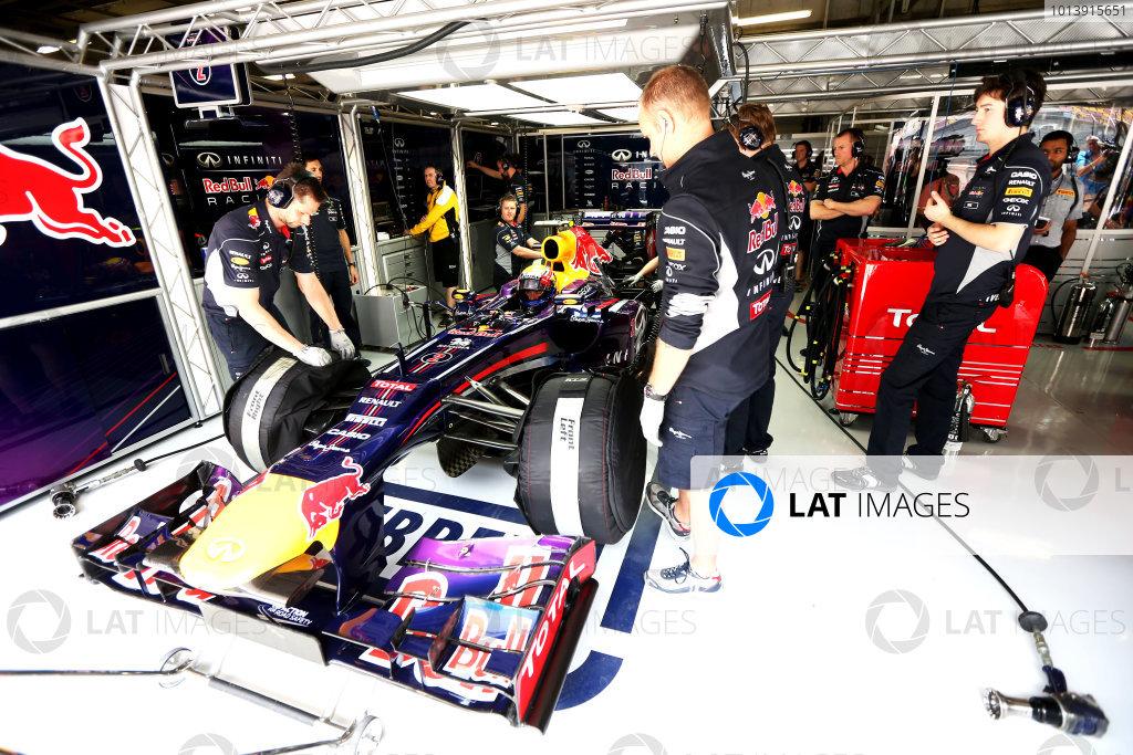 Shanghai International Circuit, Shanghai, China Saturday 13th April 2013 Mark Webber, Red Bull RB9 Renault, in the garage. World Copyright: Andy Hone/LAT Photographic ref: Digital Image HONZ4043