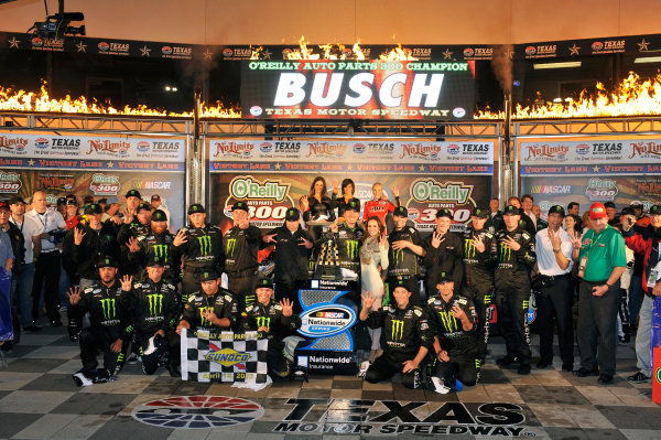 11-12 April, 2013, Fort Worth, Texas USA Kyle Busch, Monster Energy Toyota Camry celebrates his win in Victory Lane ©2013, Nigel Kinrade LAT Photo USA