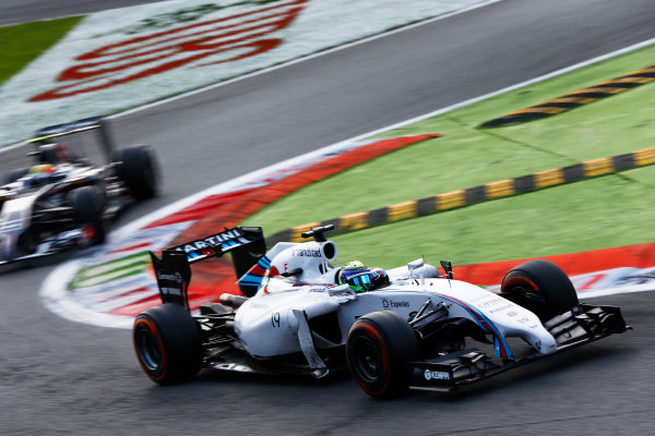 Autodromo Nazionale di Monza, Monza, Italy. Sunday 7 September 2014. Felipe Massa, Williams FW36 Mercedes, leads Esteban Gutierrez, Sauber C33 Ferrari. World Copyright: Andy Hone/LAT Photographic. ref: Digital Image _ONZ1076