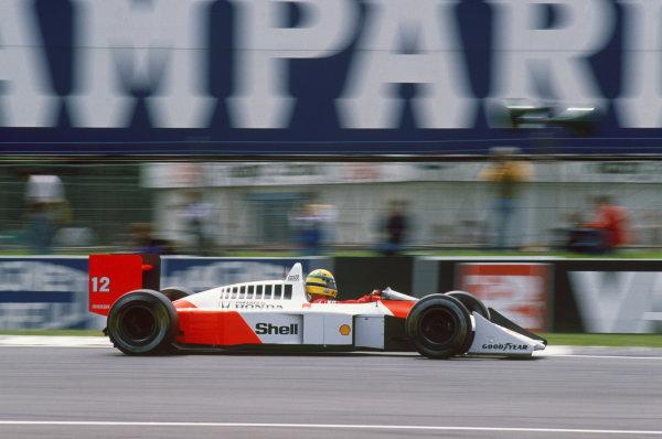 Silverstone, England. 8th - 10th July 1988. Ayrton Senna (McLaren MP4/4-Honda), 1st position, action.  World Copyright: LAT Photographic. Ref: CC